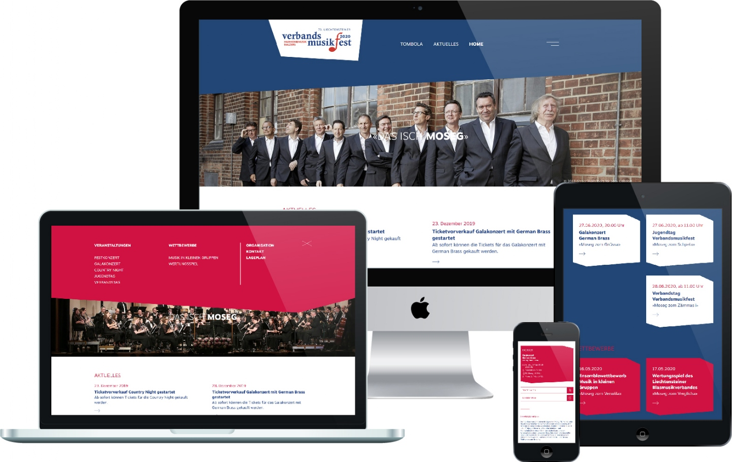 Verbandsmusikfest 2020 in Balzers - Responsive Website, CMS